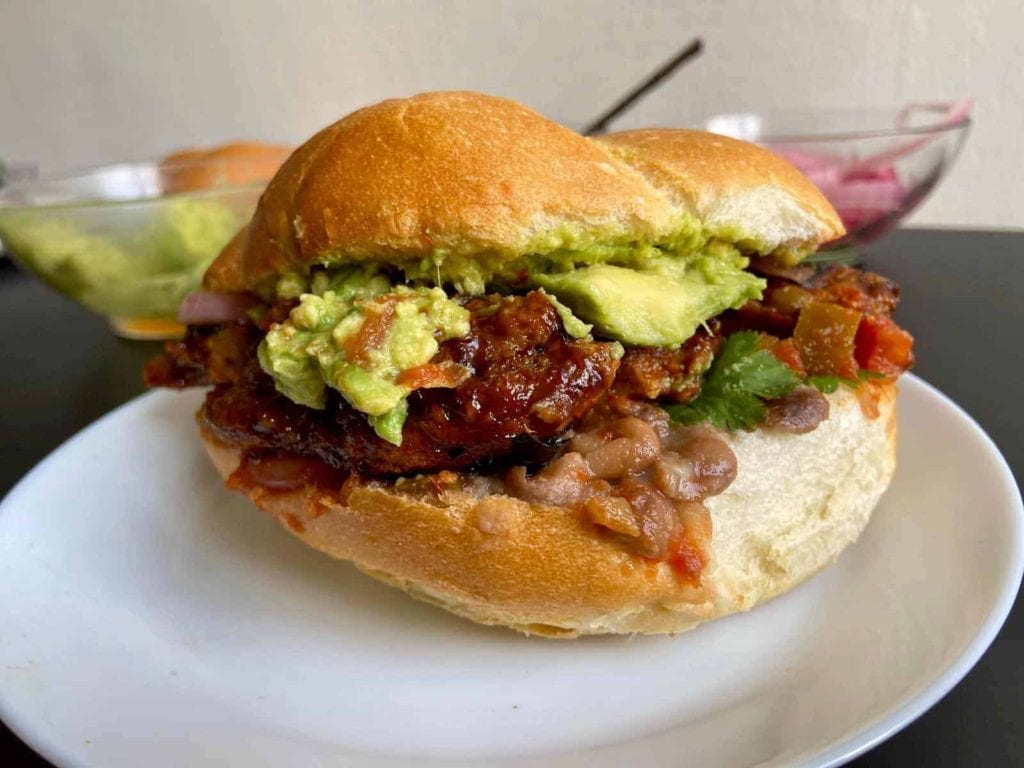 Vegan Tortas with BBQ Seitan Ribs