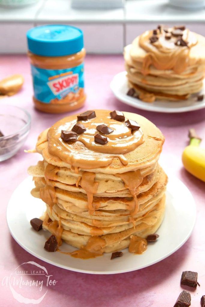Stack of vegan peanut butter pancakes
