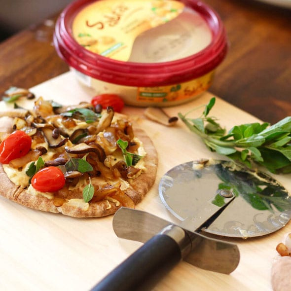 Vegan Hummus Pizza with Mushrooms
